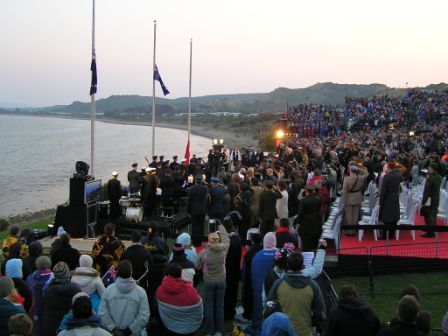 Last Post being played at Dawn Service at Anzac Cove